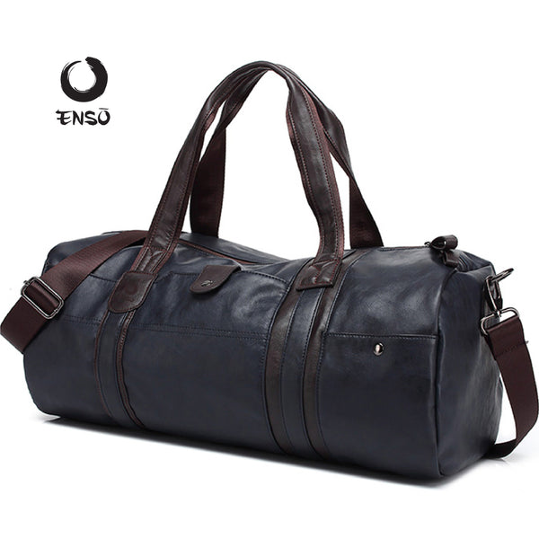 enso leather duffel bags blue