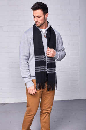 gent modelling a black scarf with ivory check detail.