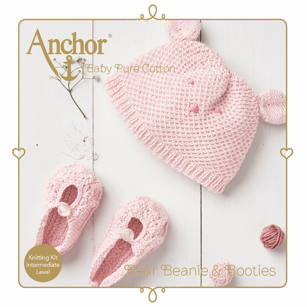 Pure baby cotton hat and boots Knitting set, pink