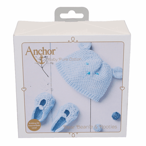 Pure baby hat and boots, Knitting Kit blue
