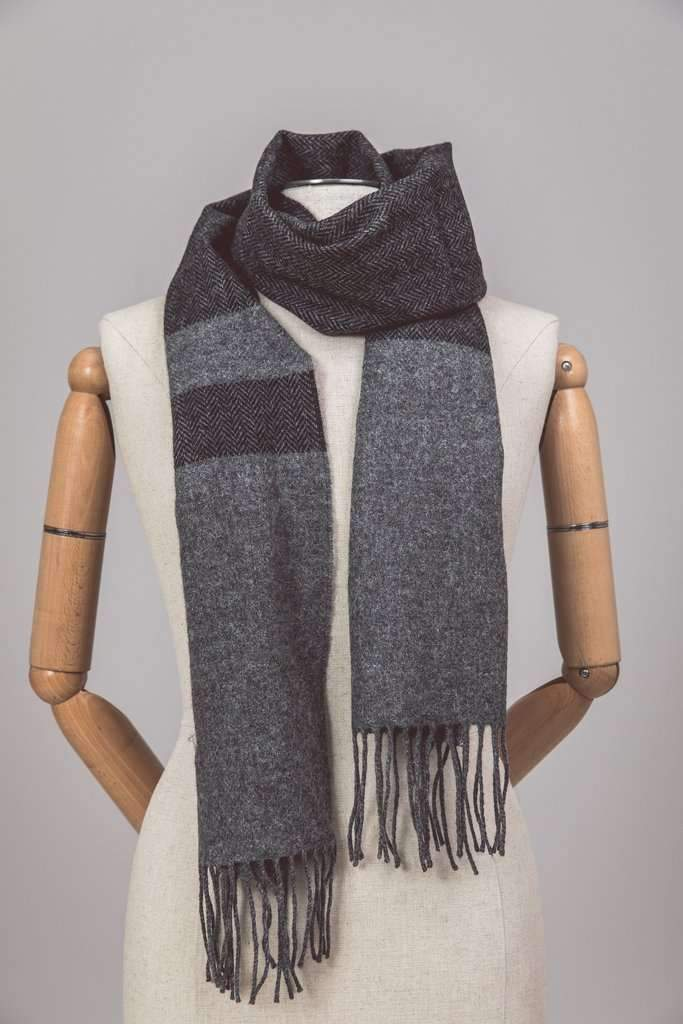 Foxford two tone grey and black scarf