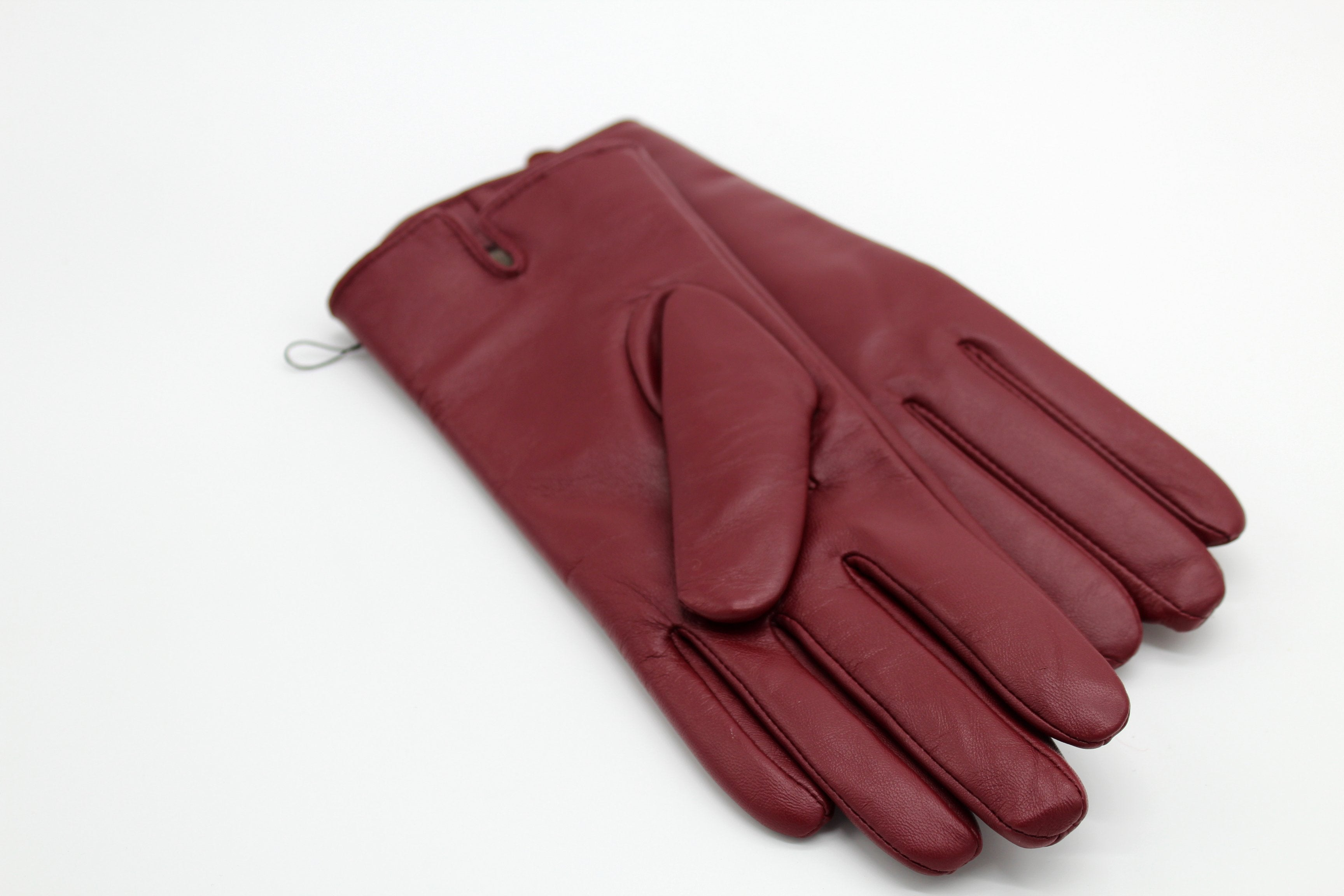 Cashmere Lined Leather Gloves, Burgundy