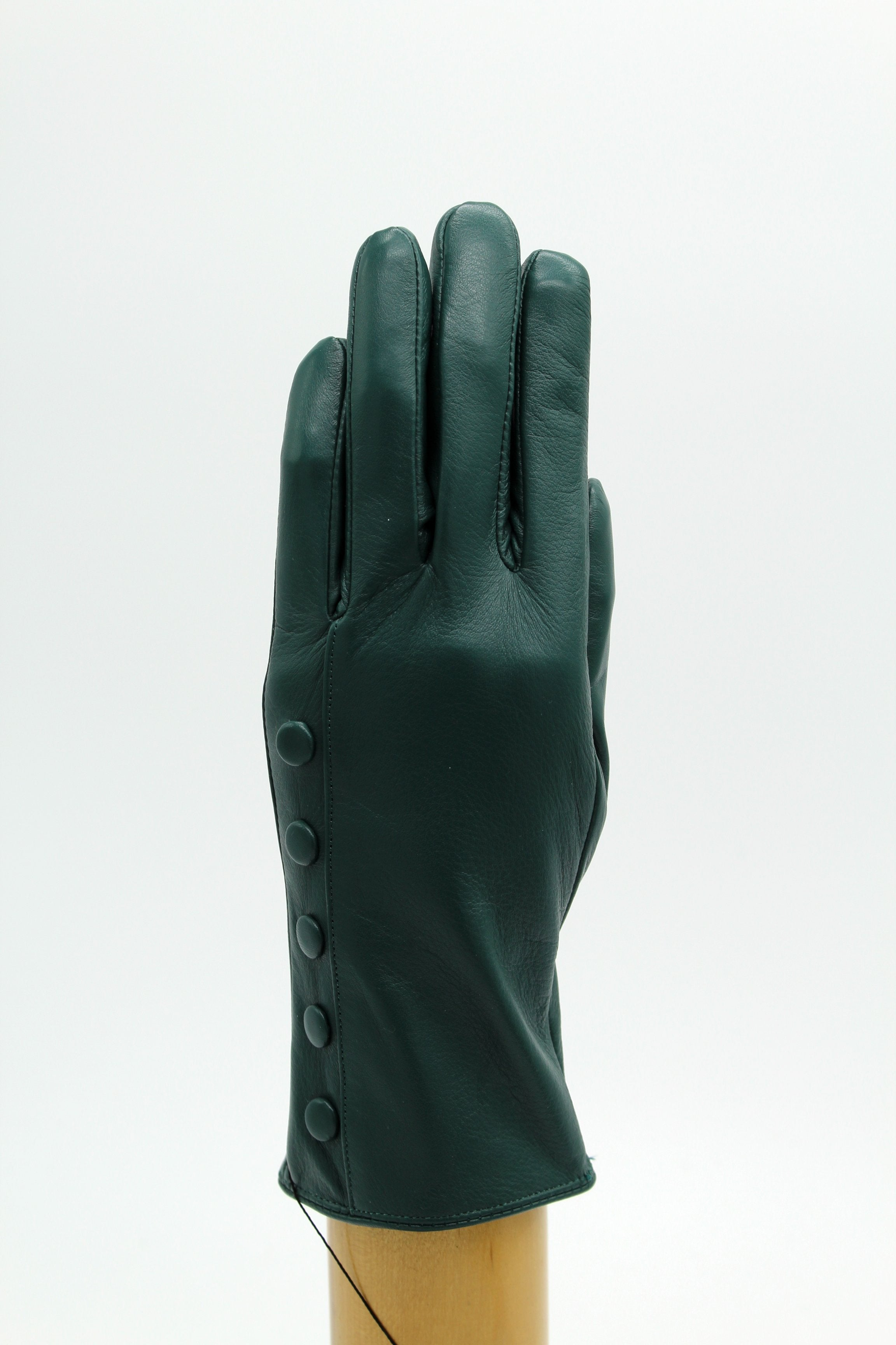 Cashmere Lined Leather Ladies Gloves, Green