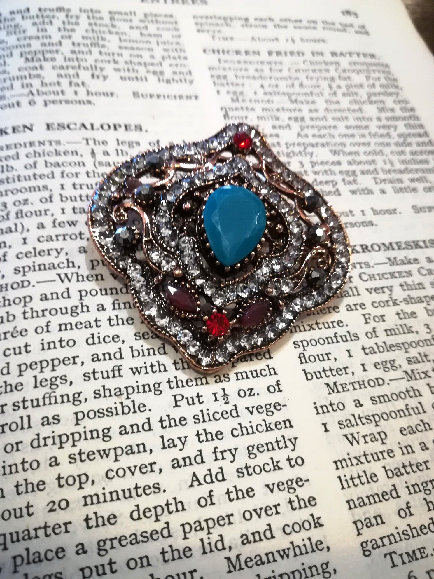vintage style turquoise and red brooch