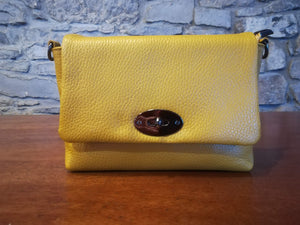 Gaia Soft Leather Italian Handbag in mustard