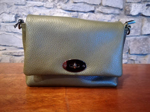 Gaia Soft Leather Italian Handbag in olive green