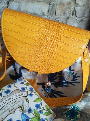 Ophelia semi circle hand Bag with wide shoulder strap in Mustard