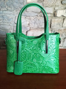 Lola Embossed leather hand bag in green