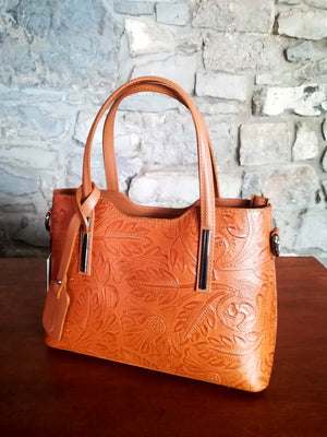 Lola Embossed leather hand bag in tan
