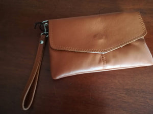 Allegra Classic Italian Soft Leather Clutch with Attachable Strap