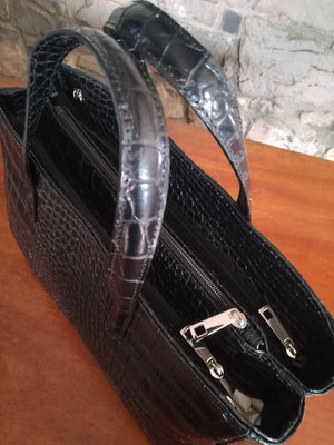 Flora Large Leather hand bag in Black top view