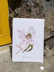 Burren Flower Fairies Just Married card, A5 with white envelope.
