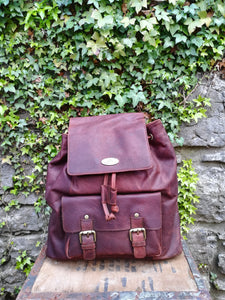 Rowallan leather back pack, tartan lined