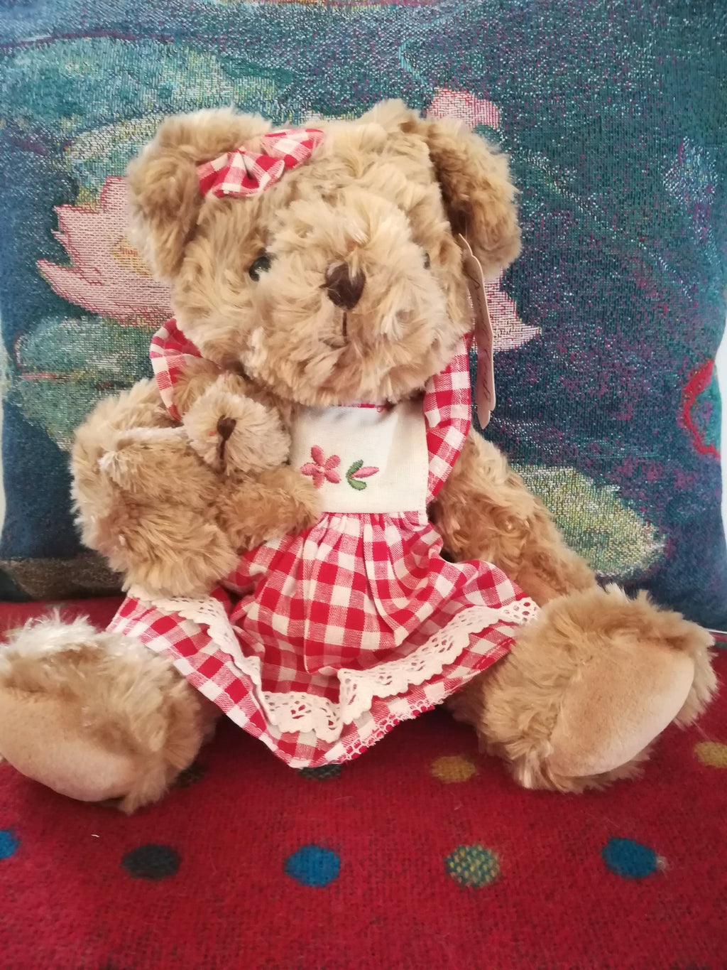 Small Teddy with red gingham dress and with her own teddy