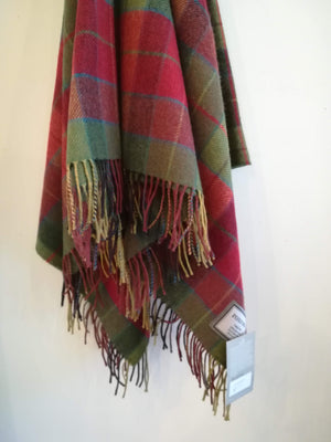 Traditional Red and Green Lambswool Blanket