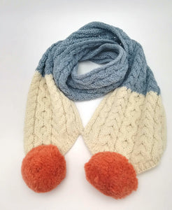 Children's pom Scarf with three colours, natural aran, misty blue and orange