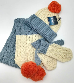 childrens co ords in three colours Natural aran, misty blue and orange.