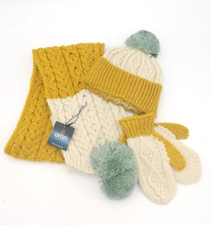 Children's pom Scarf with three colours, natural aran, sunshine yellow and minty green