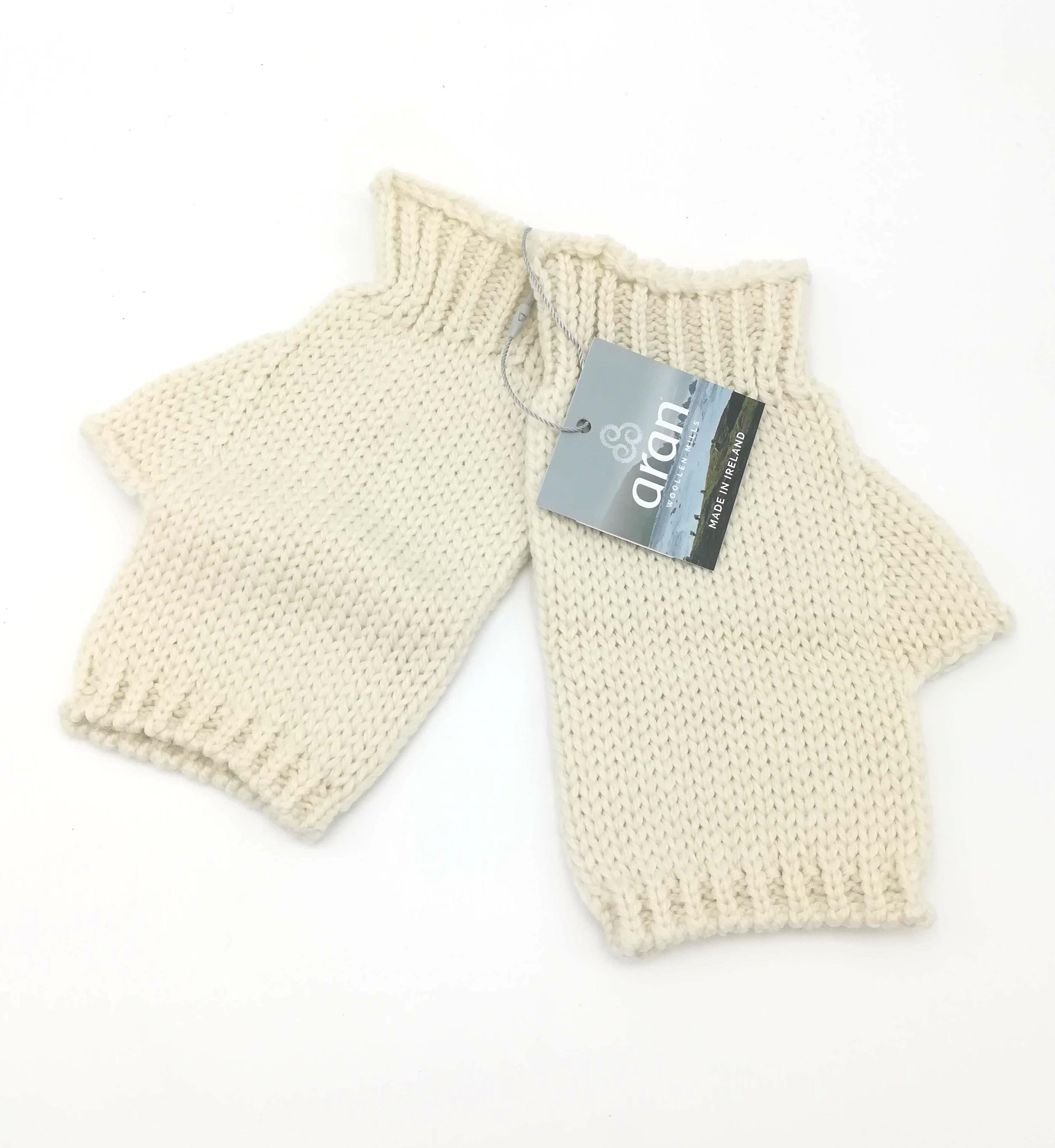 Fingerless mittens natural aran