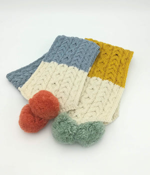 Childrens 3 colour pom Scarf