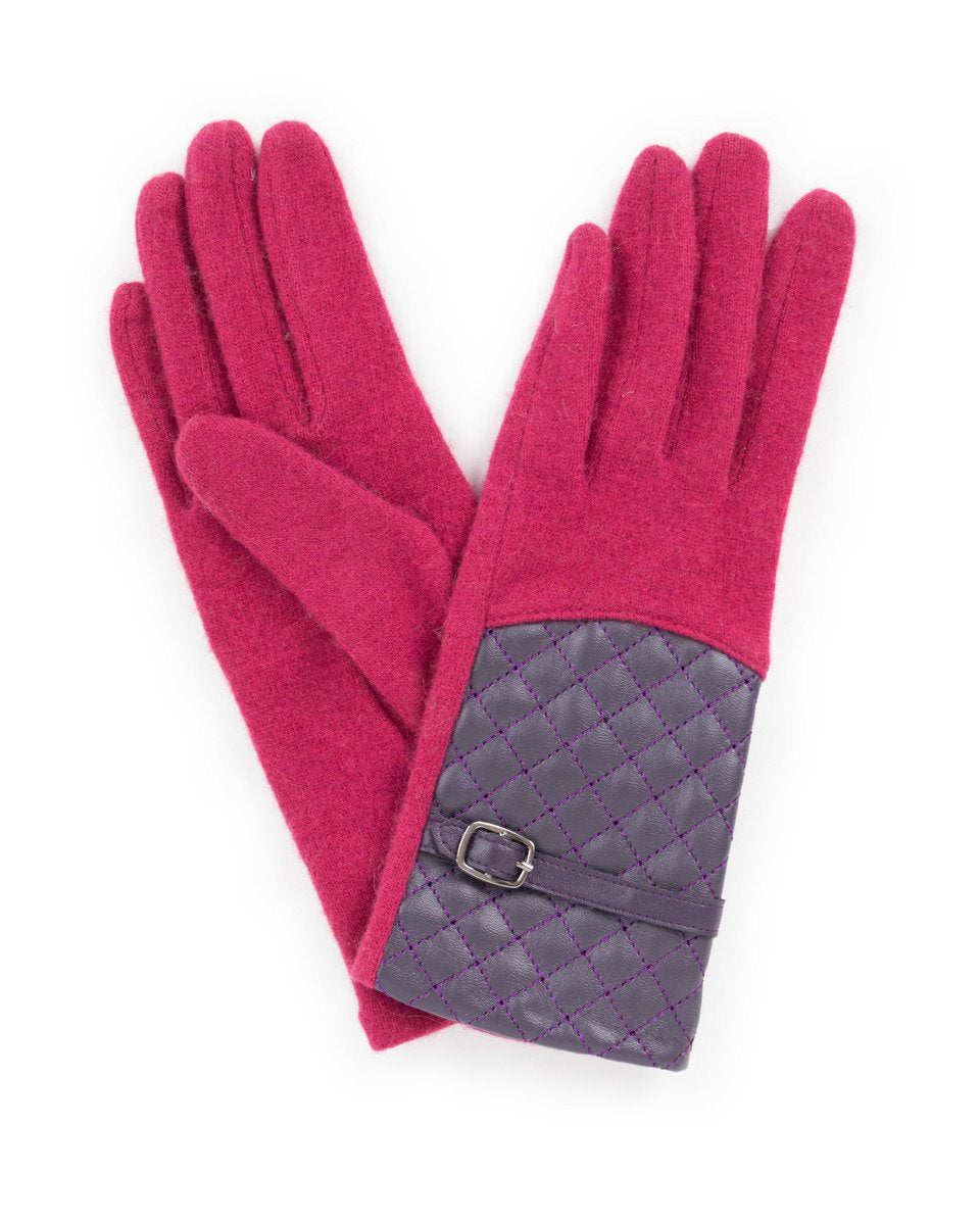 lizzy wool gloves raspberry and purple