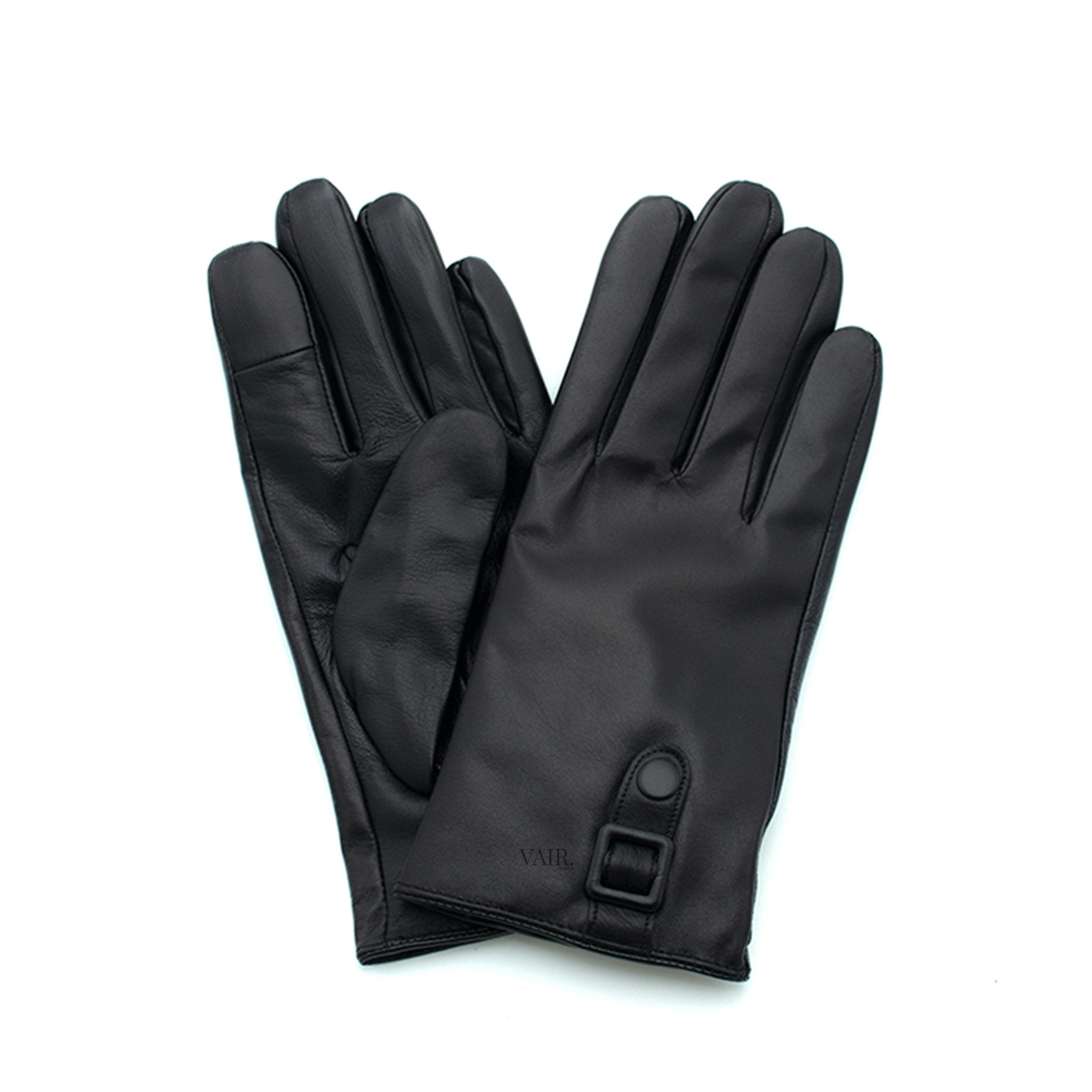 black signature mens leather gloves with cashmere lining by juliette vair
