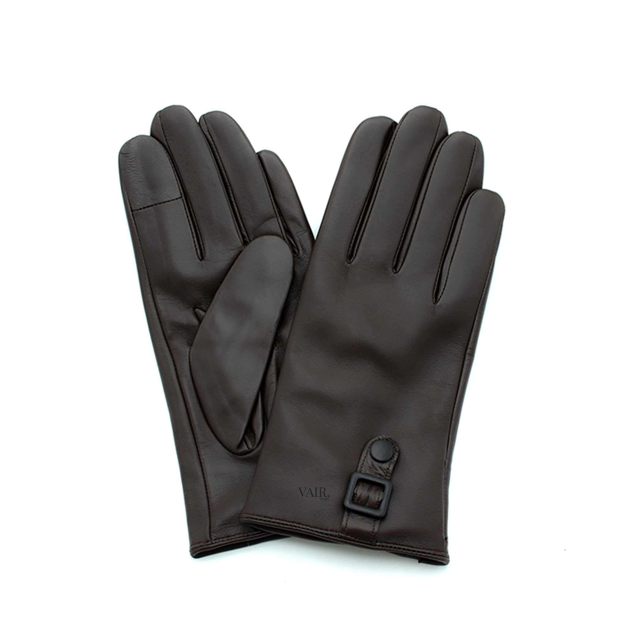 brown signature mens leather gloves with cashmere lining by juliette vair