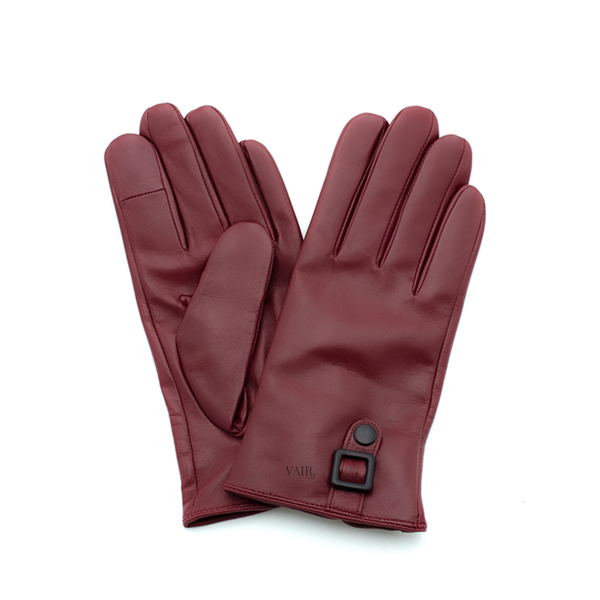 burgundy signature mens leather gloves with cashmere lining by juliette vair