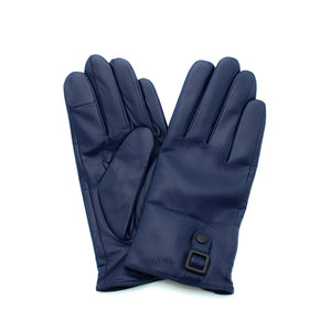 blue signature mens leather gloves with cashmere lining by juliette vair