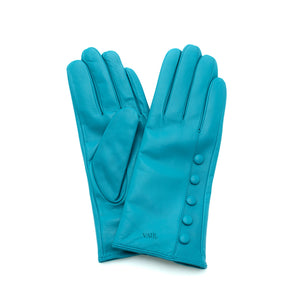 turquoise leather gloves with cashmere lining timeless by juliette vair
