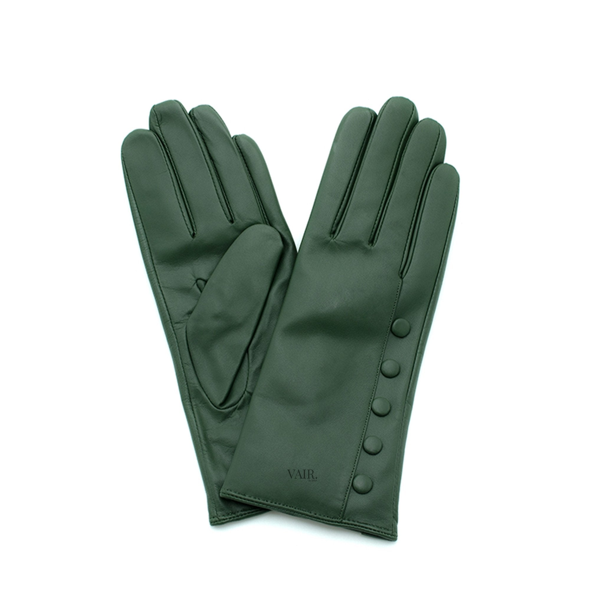 olive green leather gloves with cashmere lining timeless by juliette vair