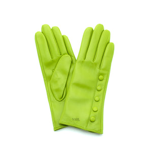 lime green leather gloves with cashmere lining timeless by juliette vair