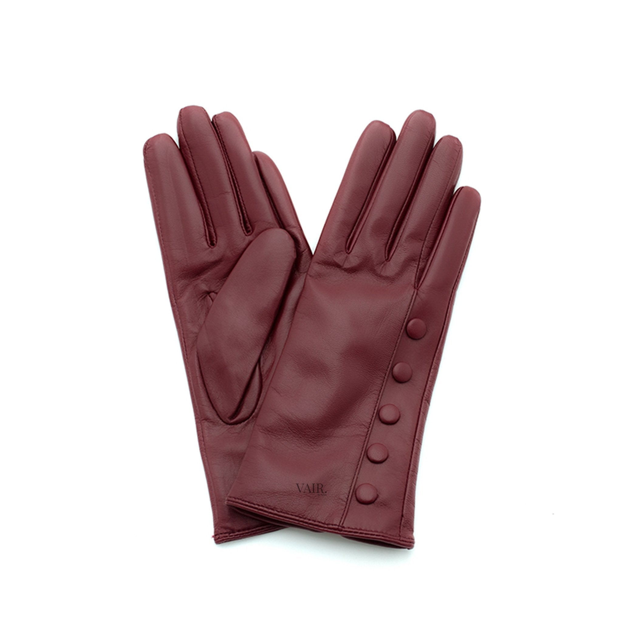 burgundy leather gloves with cashmere lining timeless by juliette vair