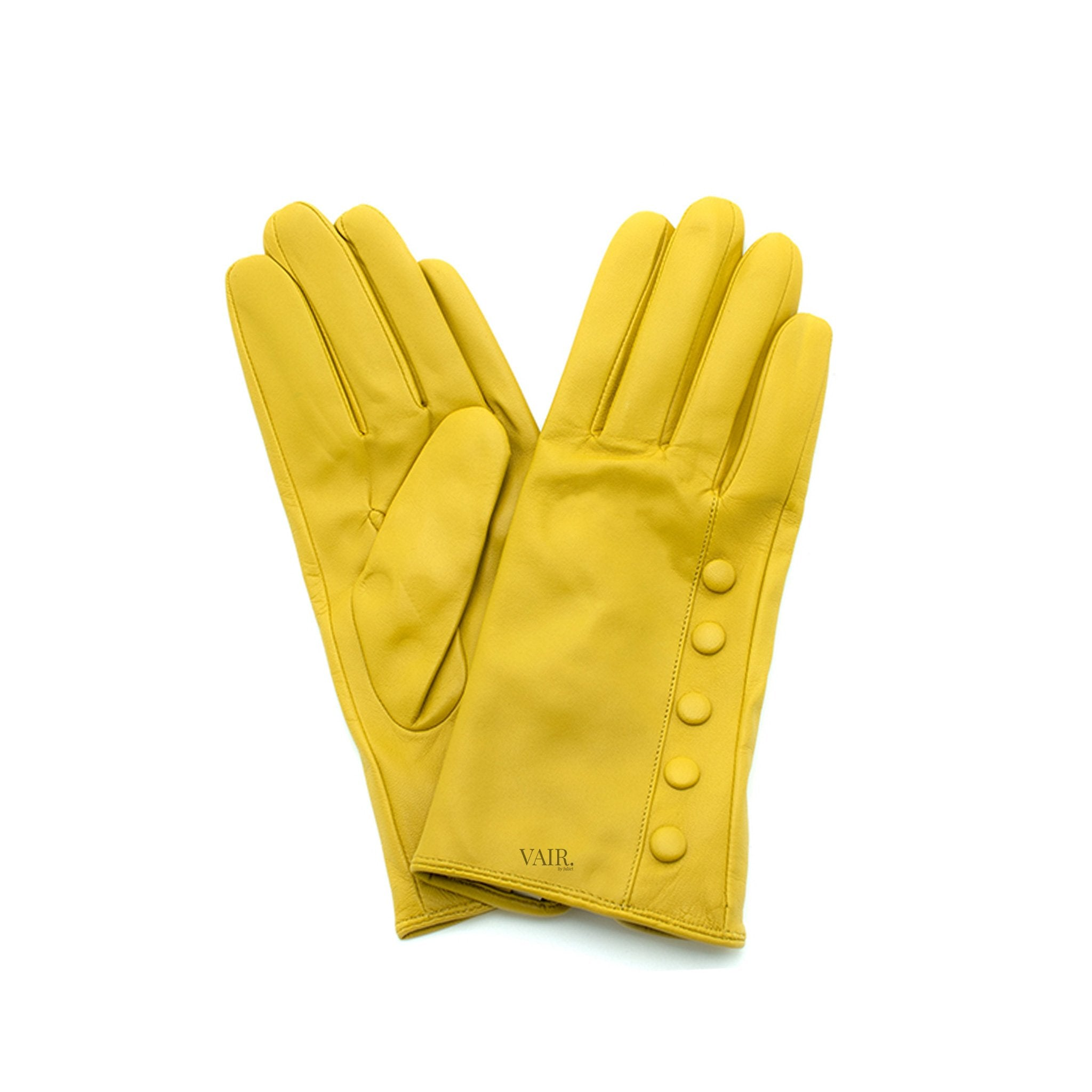 mustard leather gloves with cashmere lining timeless by juliette vair