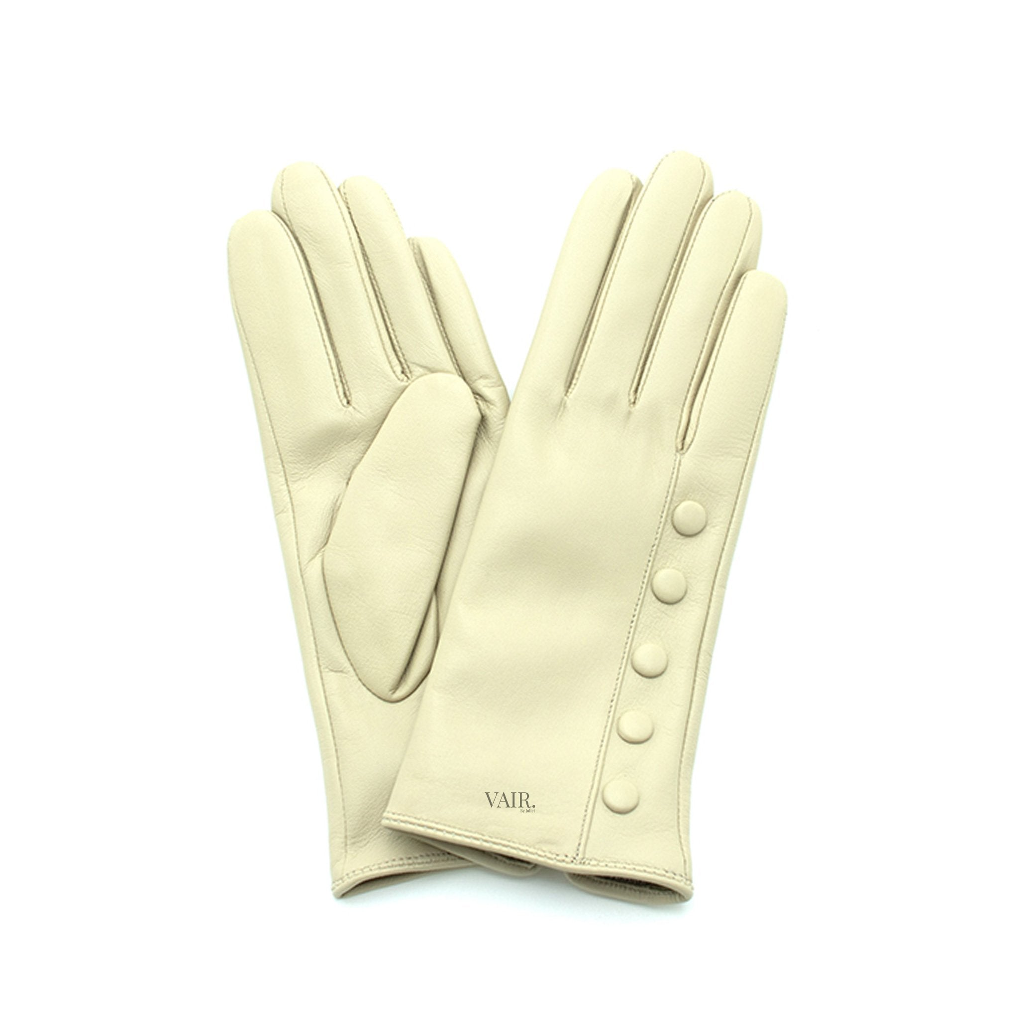 cream leather gloves with cashmere lining timeless by juliette vair