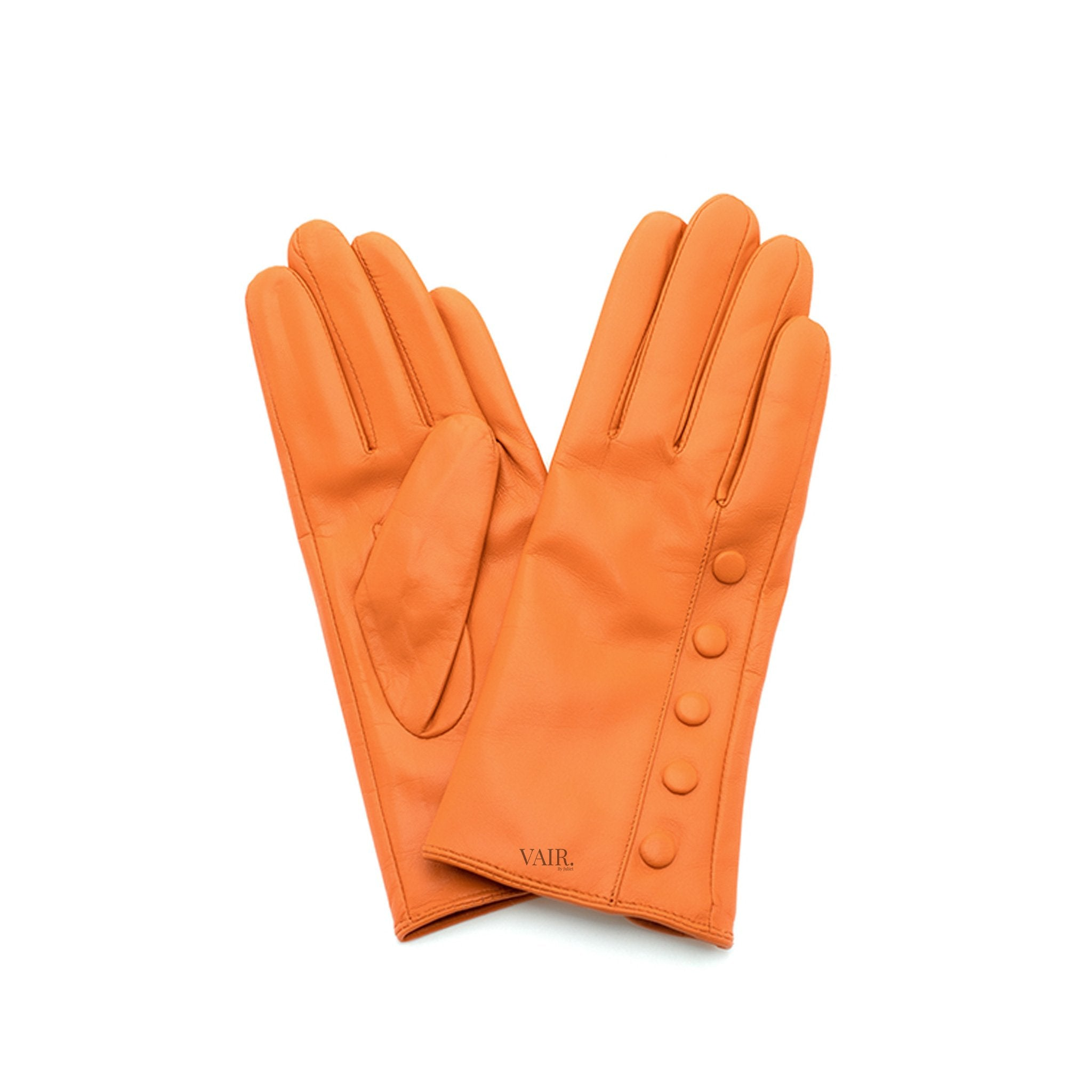 orange leather gloves with cashmere lining timeless by juliette vair