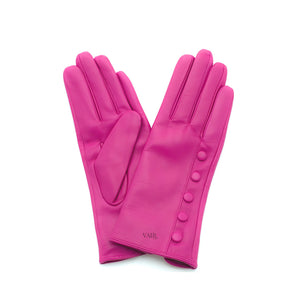 pink leather gloves with cashmere lining timeless by juliette vair