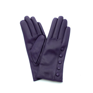 purple leather gloves with cashmere lining timeless by juliette vair