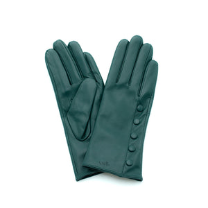 teal leather gloves with cashmere lining timeless by juliette vair