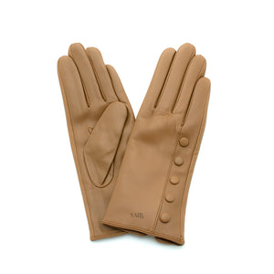 tan leather gloves with cashmere lining timeless by juliette vair