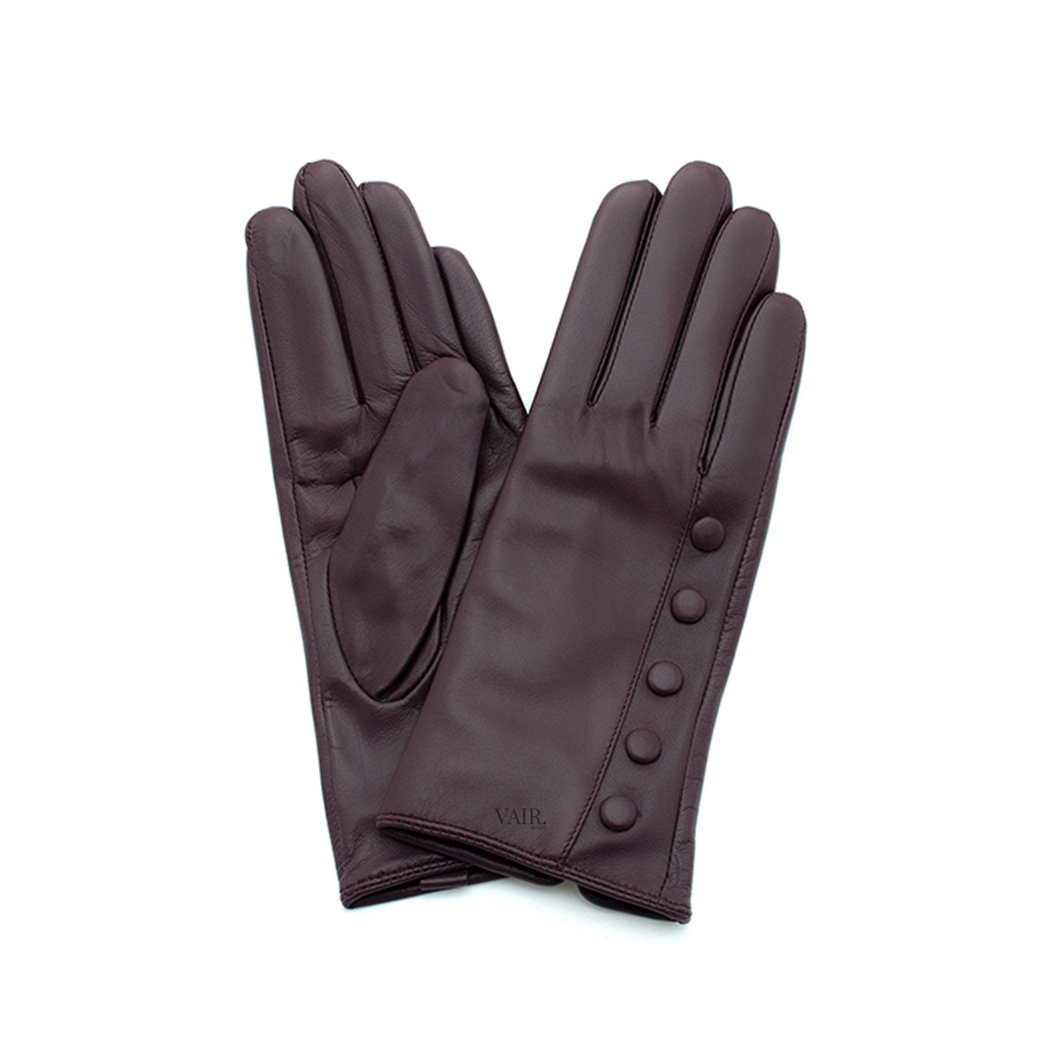 brown leather gloves with cashmere lining timeless by juliette vair