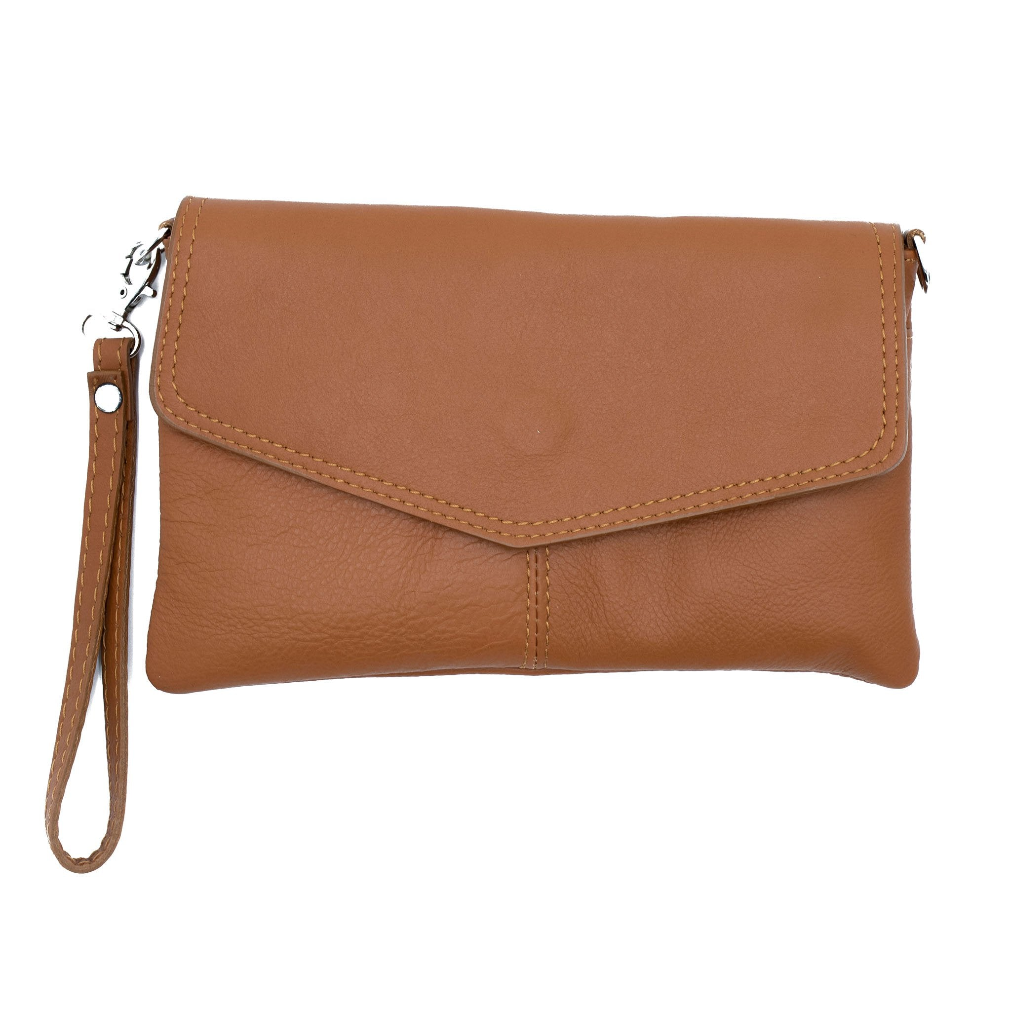 Allegra Soft Leather Italian Clutch Bag in brown