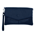 Allegra Soft Leather Italian Clutch Bag in navy