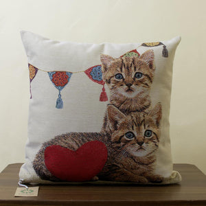 Twin Kittens tapestry cushion 18""