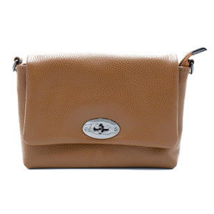 Gaia Soft Leather Italian Handbag in brown