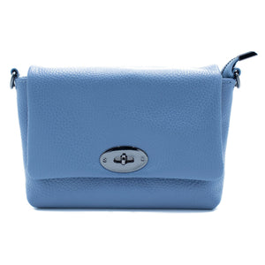Gaia Soft Leather Italian Handbag in light blue
