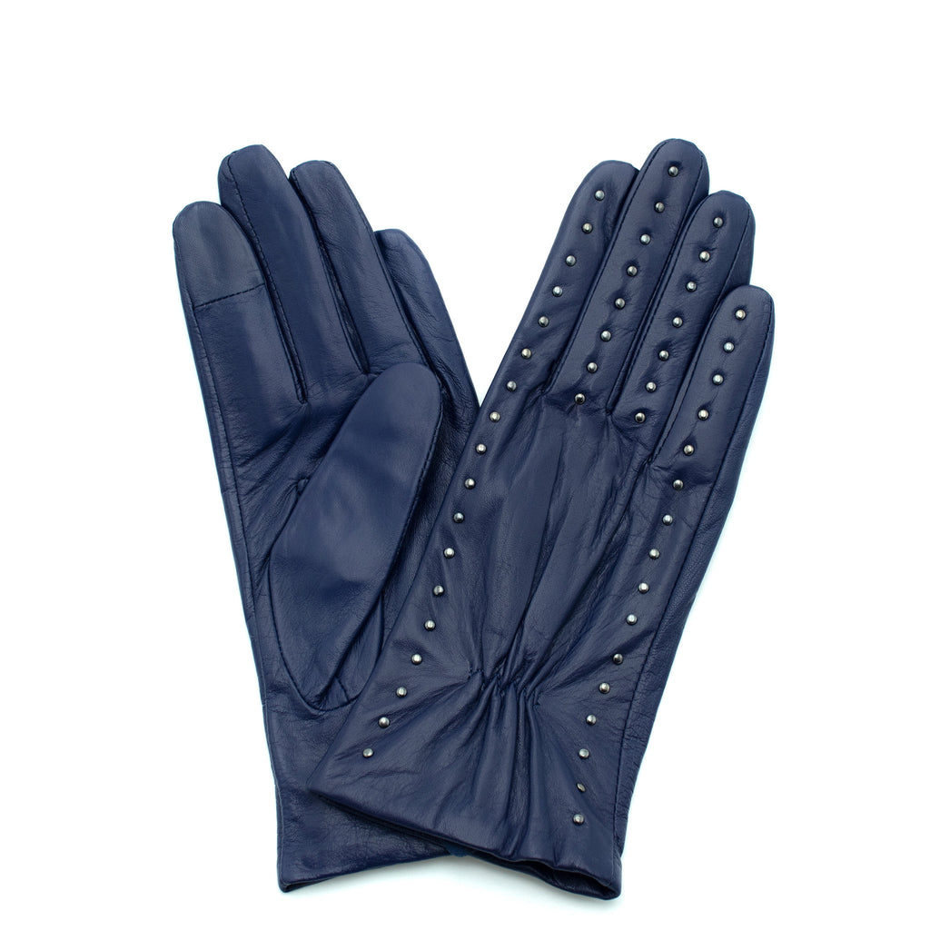Vivacious Studded Leather Gloves with Silk lining