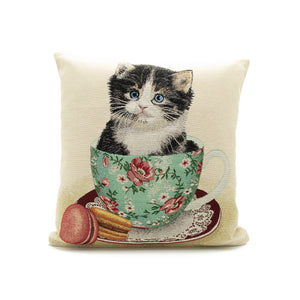 Kitten in a tea cup cushion