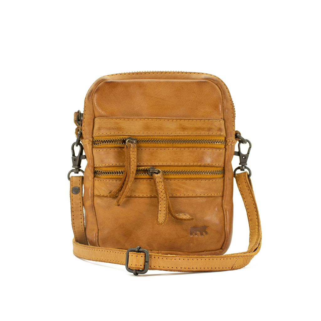 Bear Design Leather Crossbody Bag With Belt Attachment.