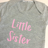 little sister, little sister onesie,little sister vest, sibling onesie, little sibling, new baby gift, sister gift, baby shower gift for a girl